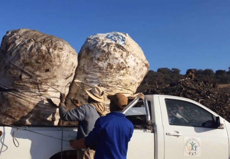 Two men loading recycling onto a truck