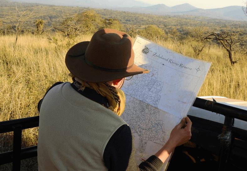 Volunteer looking at a map