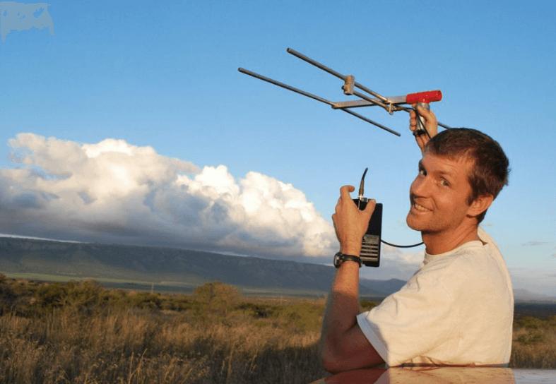 Volunteer using radio telemetry