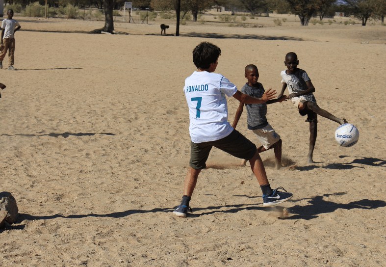 Family-volunteering-football-namibia