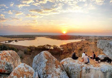 Volunteers watching sunset in Zimbabwe
