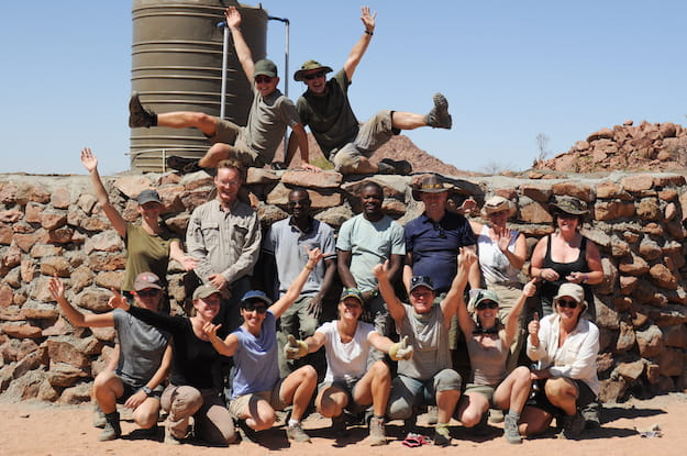 Volunteers in Namibia building a wall