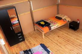 Inside bushcamp tent