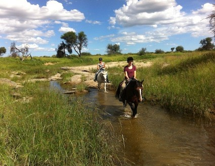 Volunteers riding in Namibia