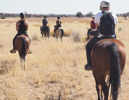 Volunteers horse riding in Namibia
