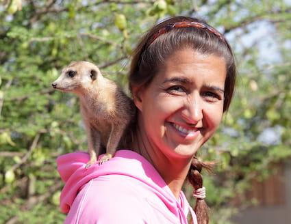 Wildlife sanctuary volunteer with meerkat