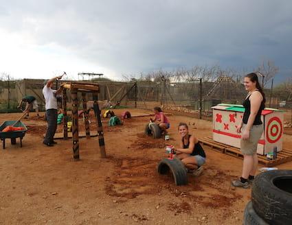 wildlife sanctuary volunteers building new enclosure
